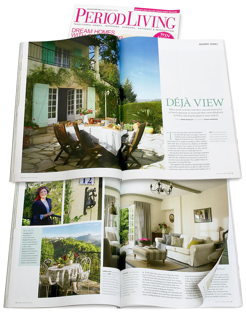 Pages 74 to 82 in the July 2011 issue of Period Living magazine featuring Janet Hamilton's villa 'Jasmin' near the French Riviera village of St Paul de Vence.