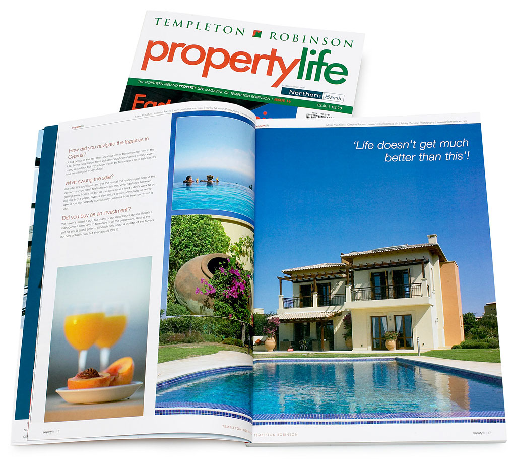 Pages 14 to 20 in issue 16 of Templeton Robinson's Property Life magazine featuring Rose & Julius Cohen's villa at the Aphrodite Hills near Paphos in Cyprus.