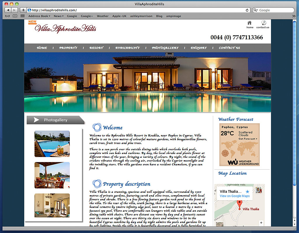 Screen shot showing how our images have been used on the web site of Villa Thalia at Aphrodite Hills near Paphos in Cyprus.