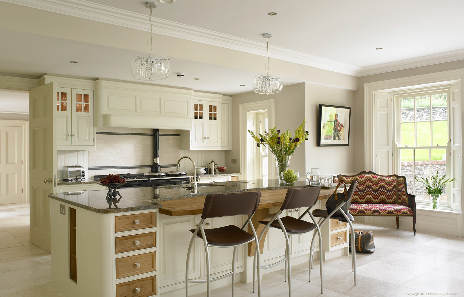 An Ivory with European Oak kitchen by Robinson Interiors in a house near Holywood in the north of Ireland.