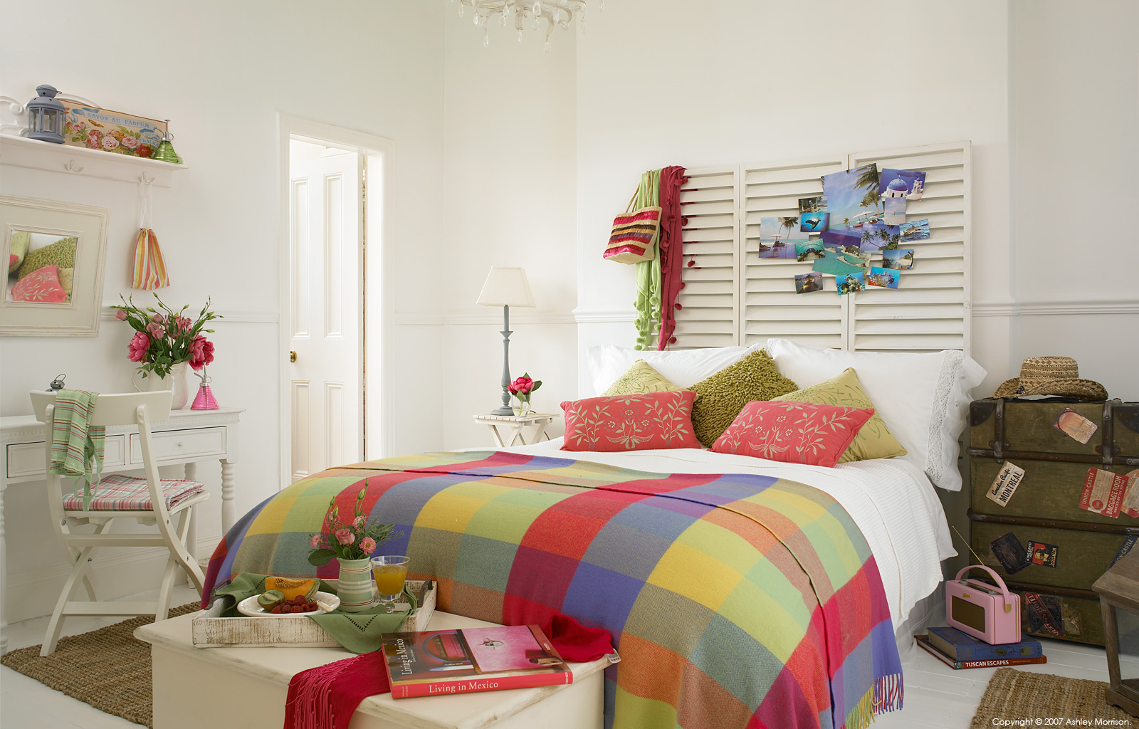 Colourful, bright and ziggy bedroom - which was produced for an Editorial makeover feature by Ashley Morrison.