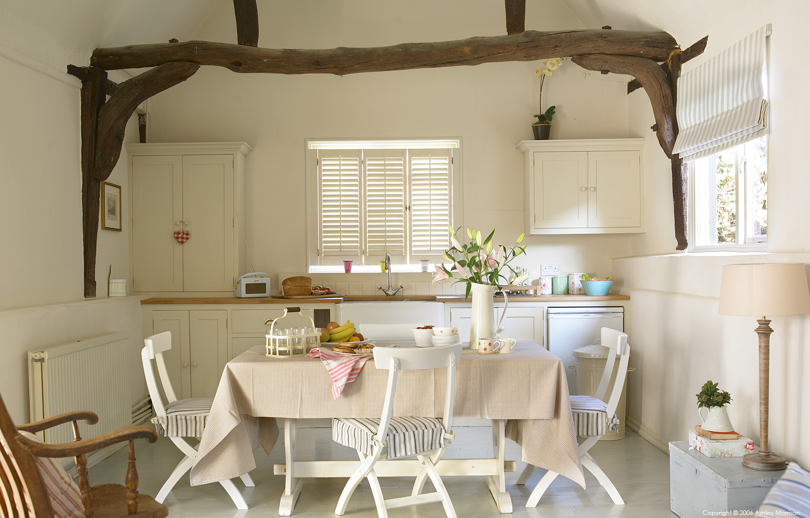 The kitchen in Sarah & Edward Bird's cottage at Dagley Farm in Surrey by Ashley Morrison.