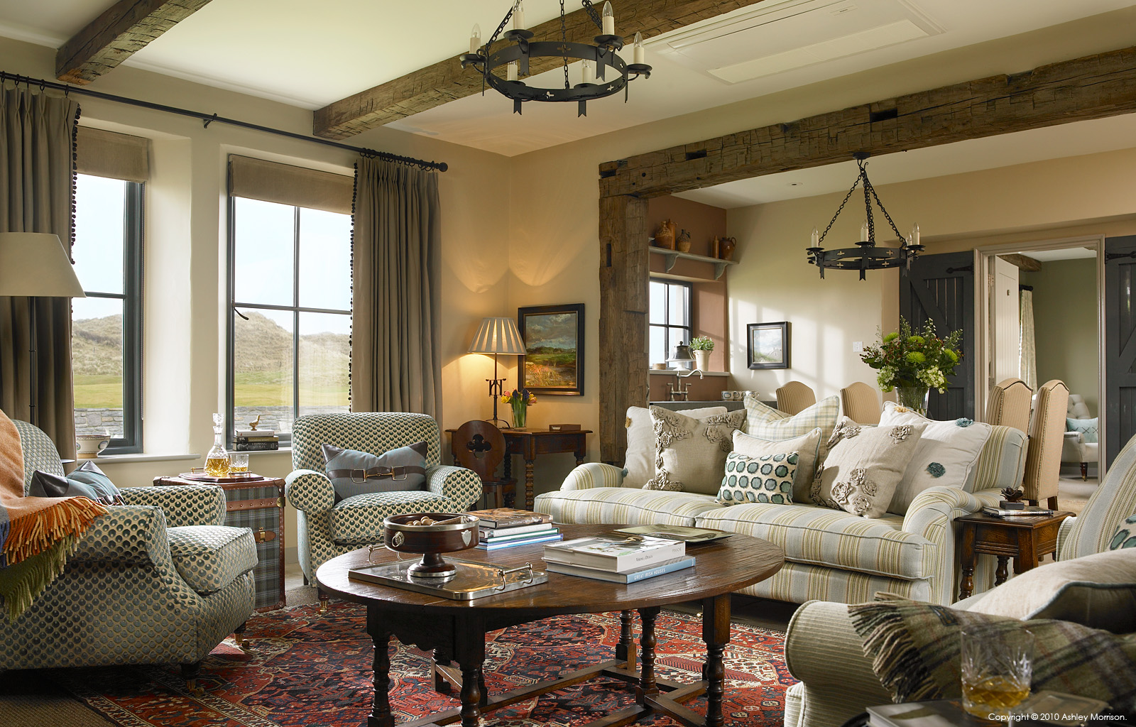 The sitting room area in one of the Link Cottages at the Trump International Golf Links & Hotel in County Clare.