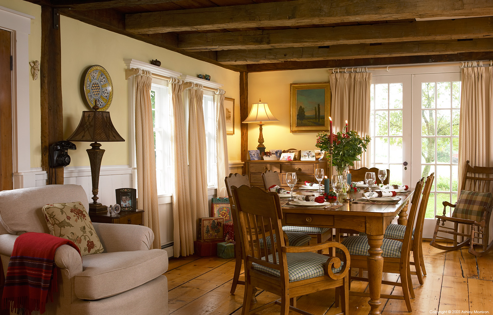 The dining table in Jackie Ennis and David Rocchio's New England farmhouse near Stowe in Vermont at Christmas.