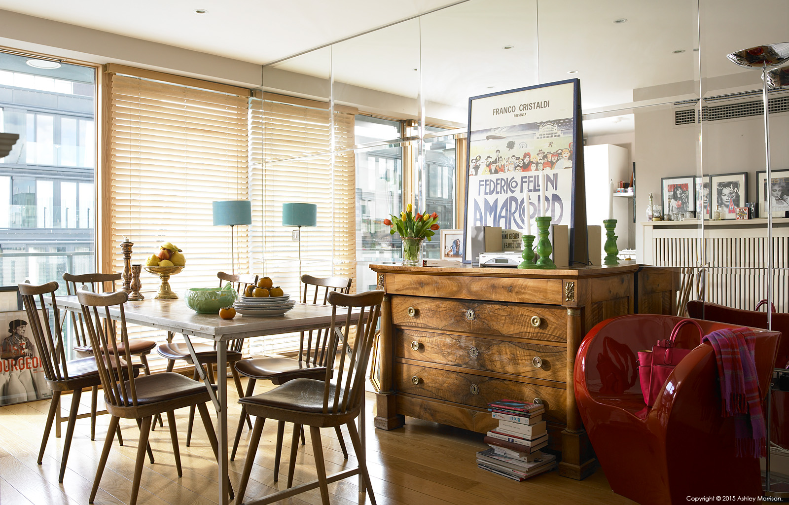 The dining area in Charlotte Hamel's modern apartment in Dublin's stylish docklands area.