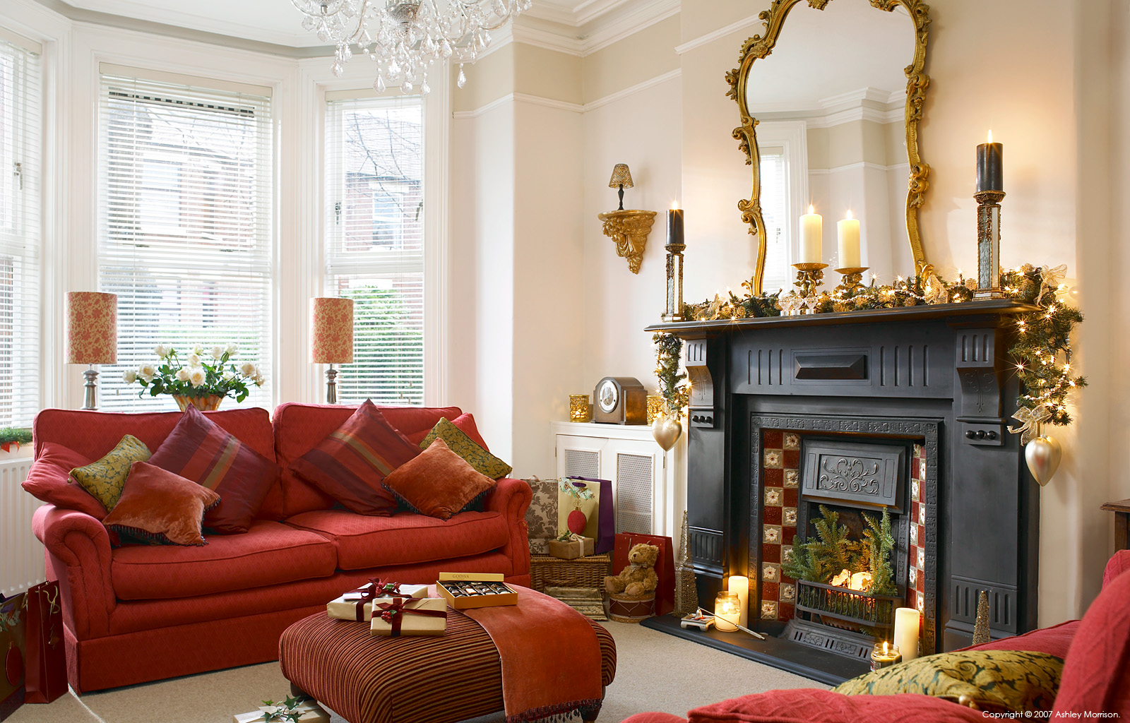 The sitting room in Michelle Jackson's townhouse in Belfast at Christmas.