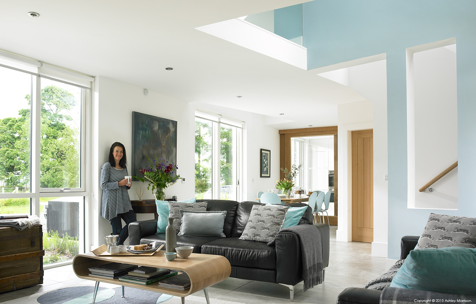 Kim Loughery in the living room of her barn extension near Limavady in County Londonderry