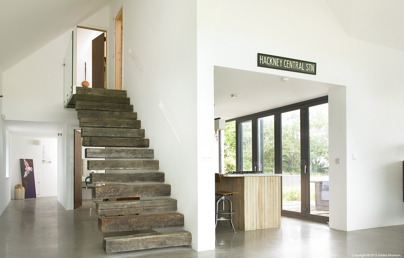 The stairs in Louise and Dominic McGuane's renovated farmhouse called 'The Safe House' near the village of Cooraclare in County Clare.