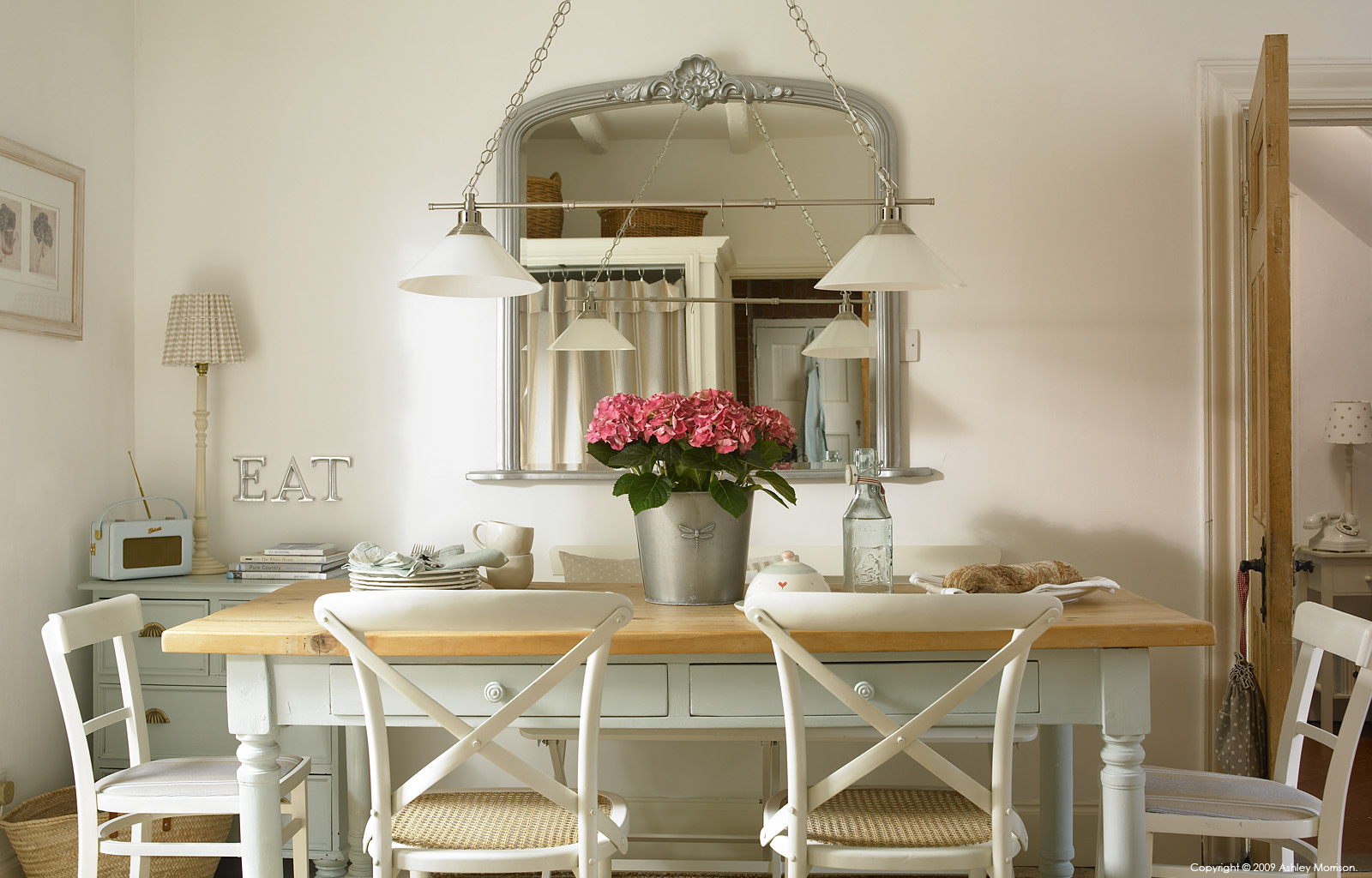 The kitchen table in Marie and Alan McMillen's 1920s cottage style bungalow near Holywood in County Down.