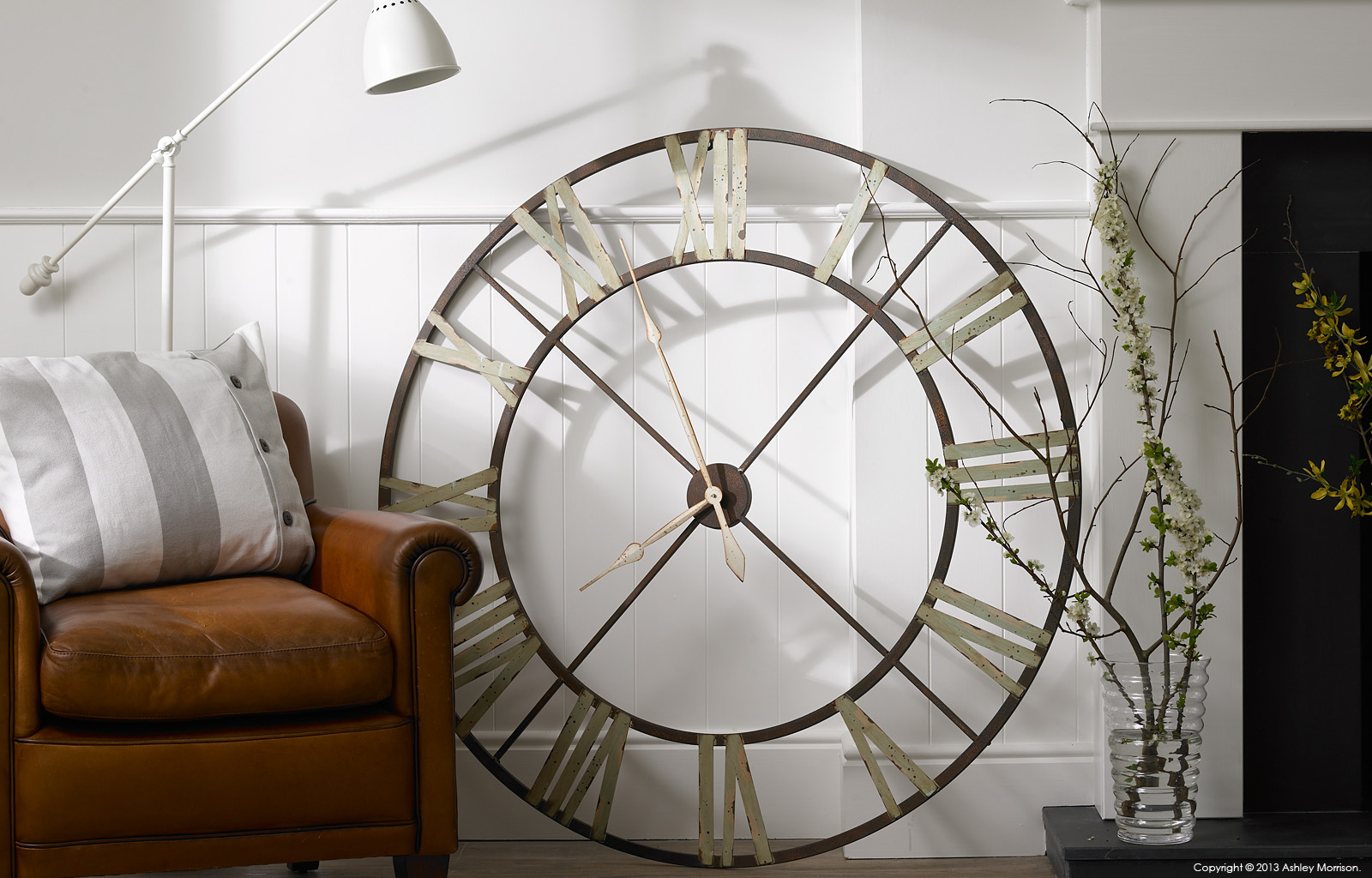 Giant iron wall clock.