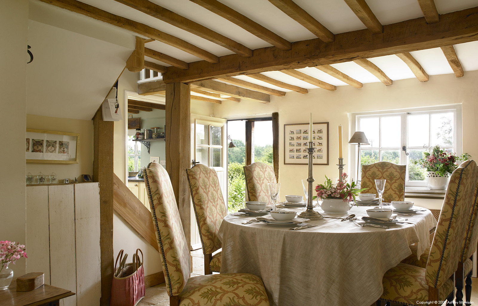 The dining room in Tracey & Andy Rosser's cottage near Checkendon in Oxfordshire.