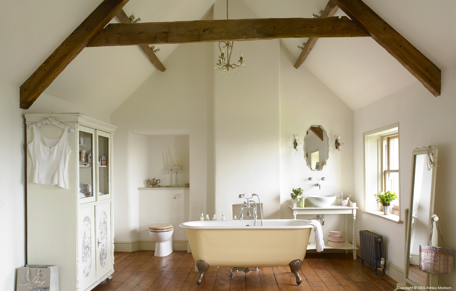 Bathroom in Julie-Christian Young's stone farmhouse near Bath by Ashley Morrison.