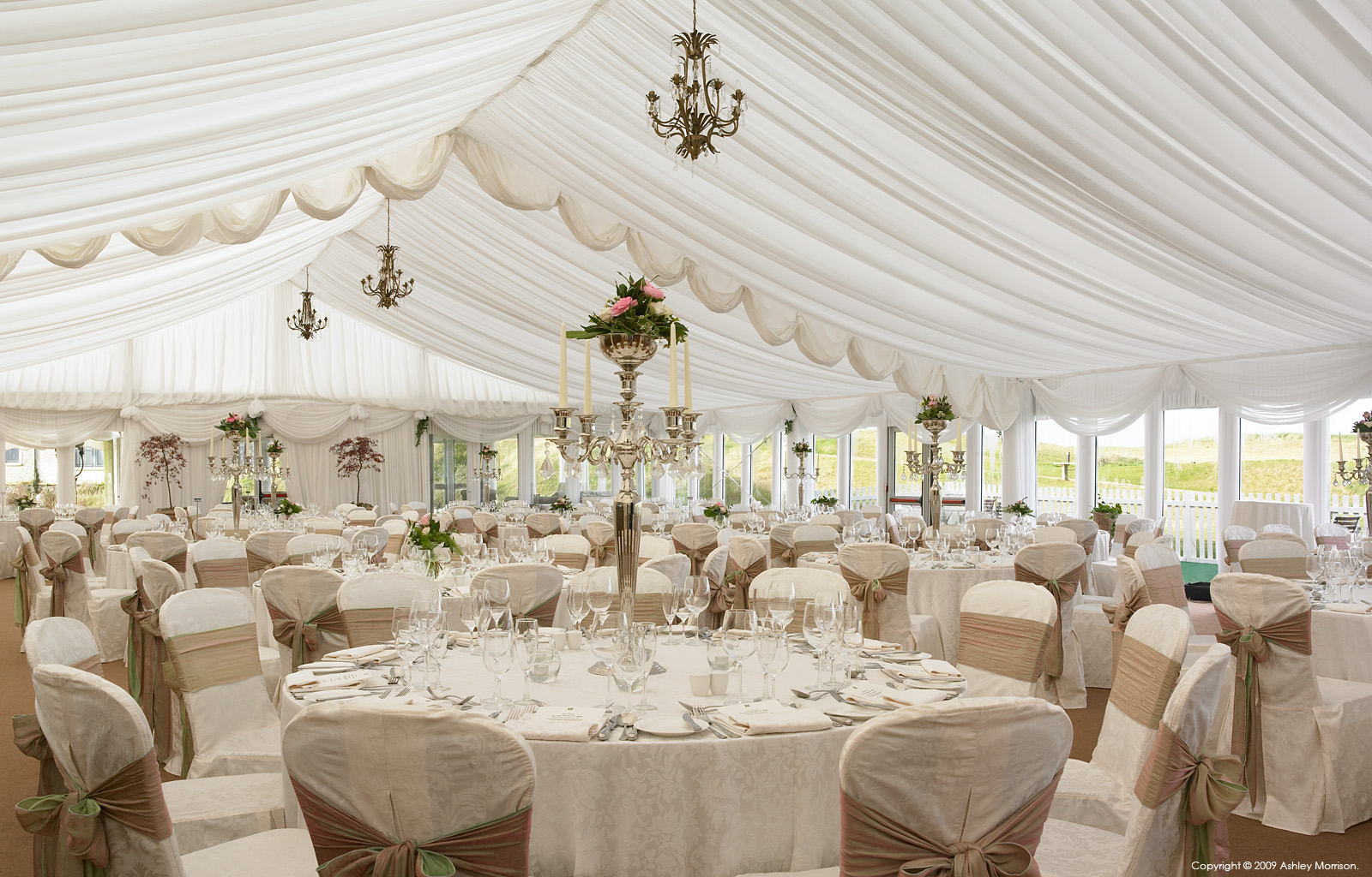 The wedding marquee at the Trump International Golf Links & Hotel in County Clare by Ashley Morrison.