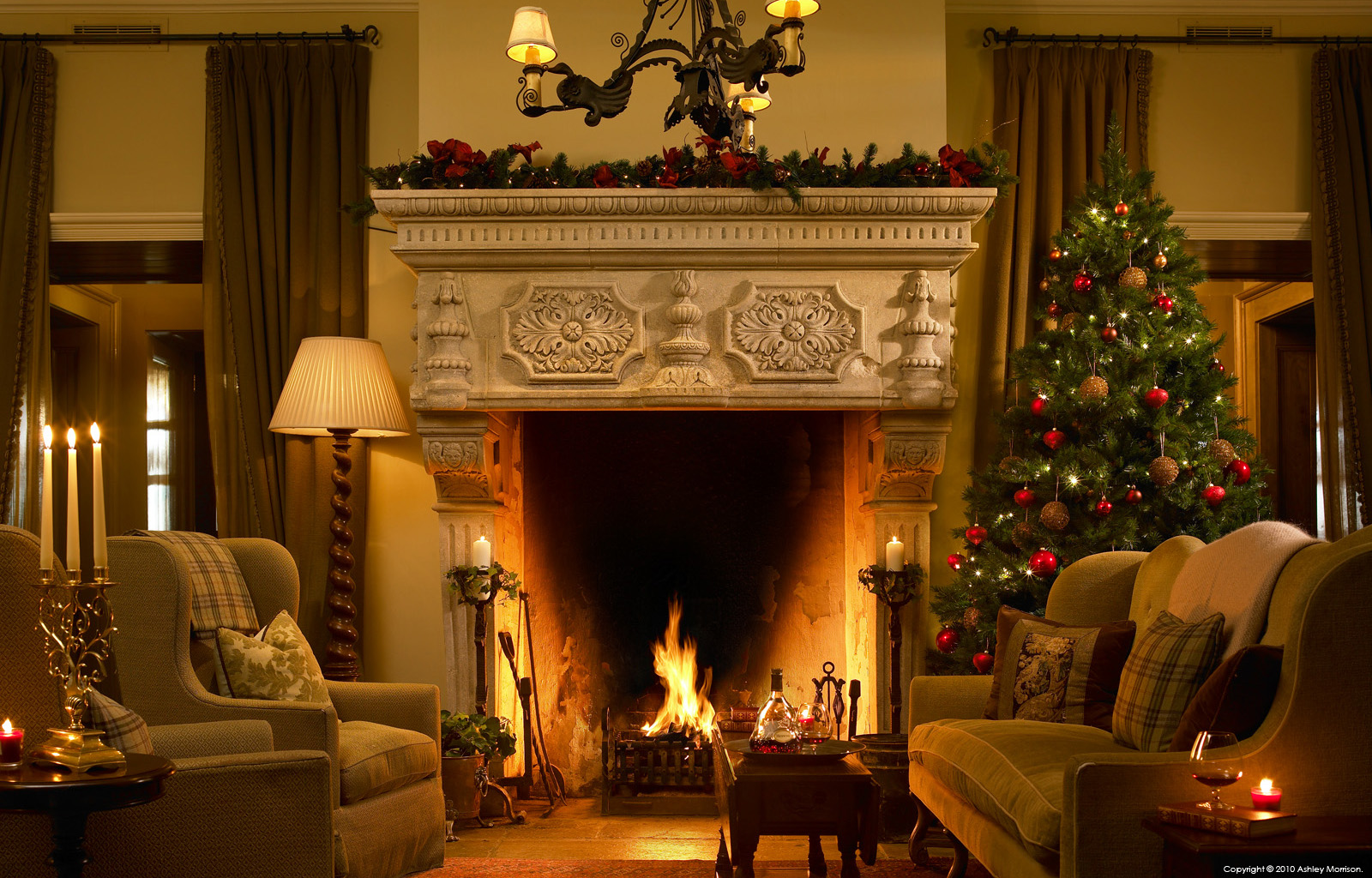 The fireplace in the Lodge at the Trump International Golf Links & Hotel in County Clare.