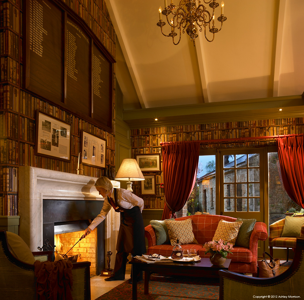 The fireplace in Club House library at Dromoland Castle in County Clare