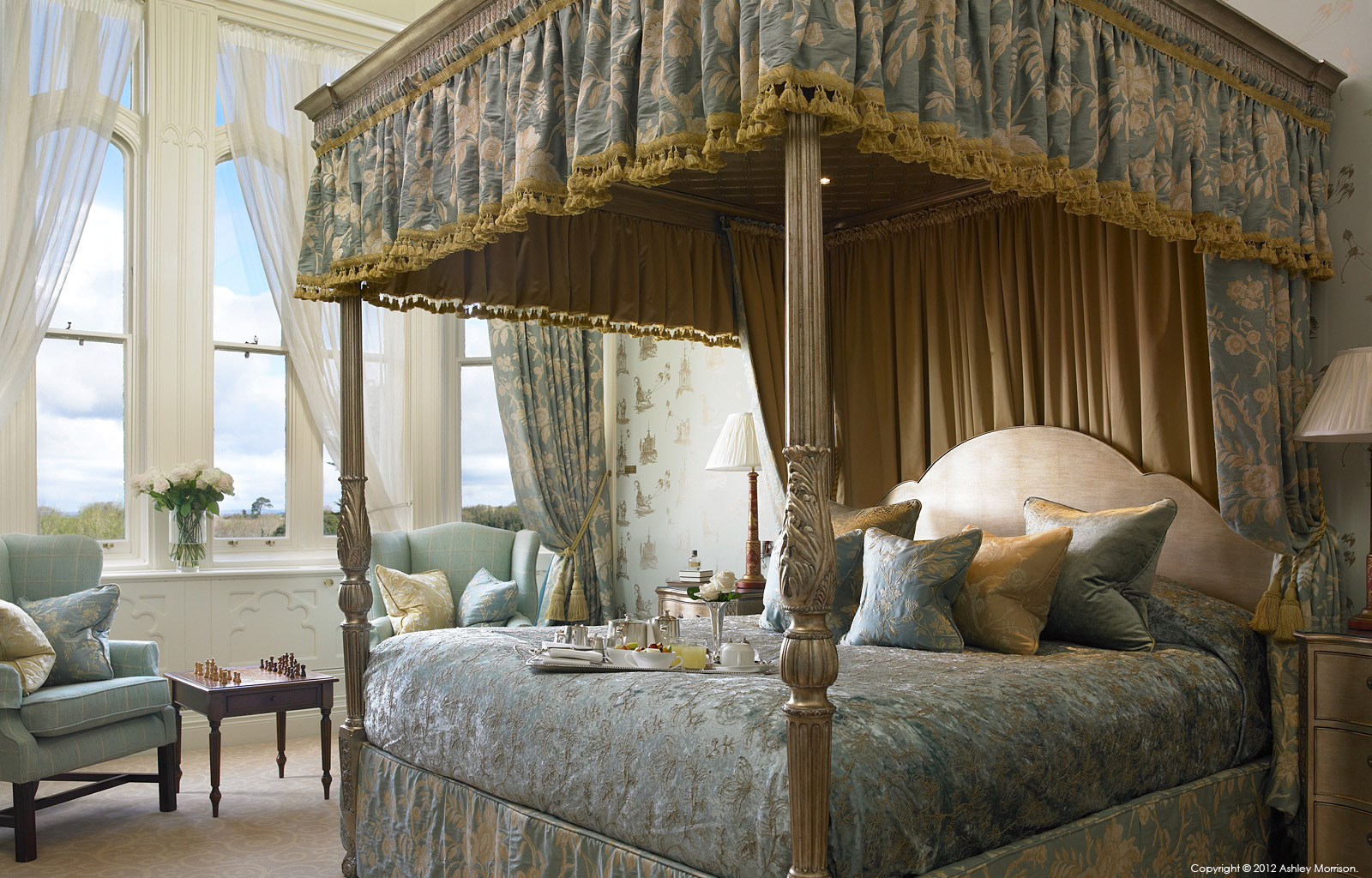 The four poster bed in the 'Presidential suite' at Dromoland Castle in County Clare.