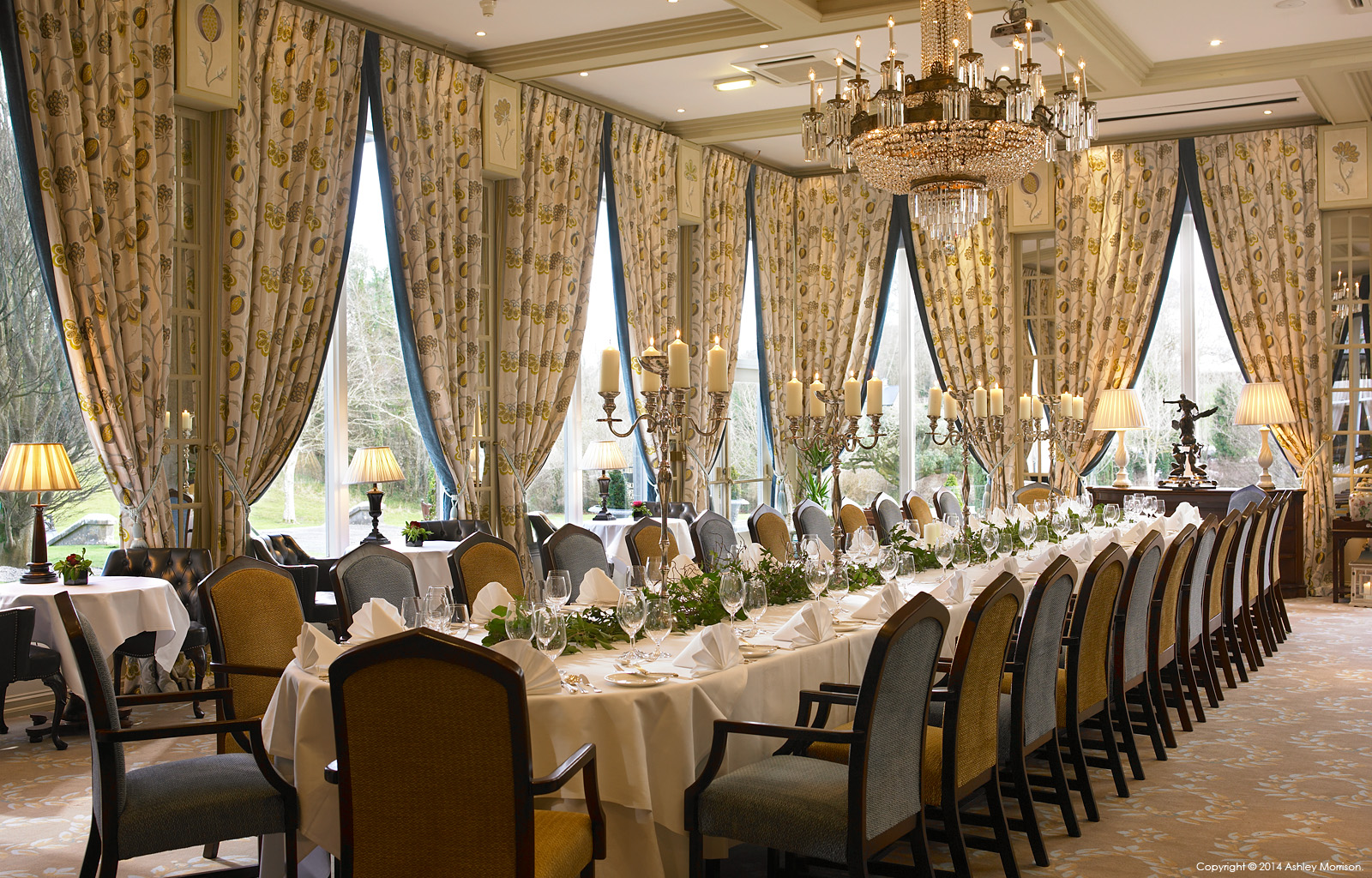 The Terrace Room set-up for a business meeting at Dromoland Castle in County Clare by Ashley Morrison.