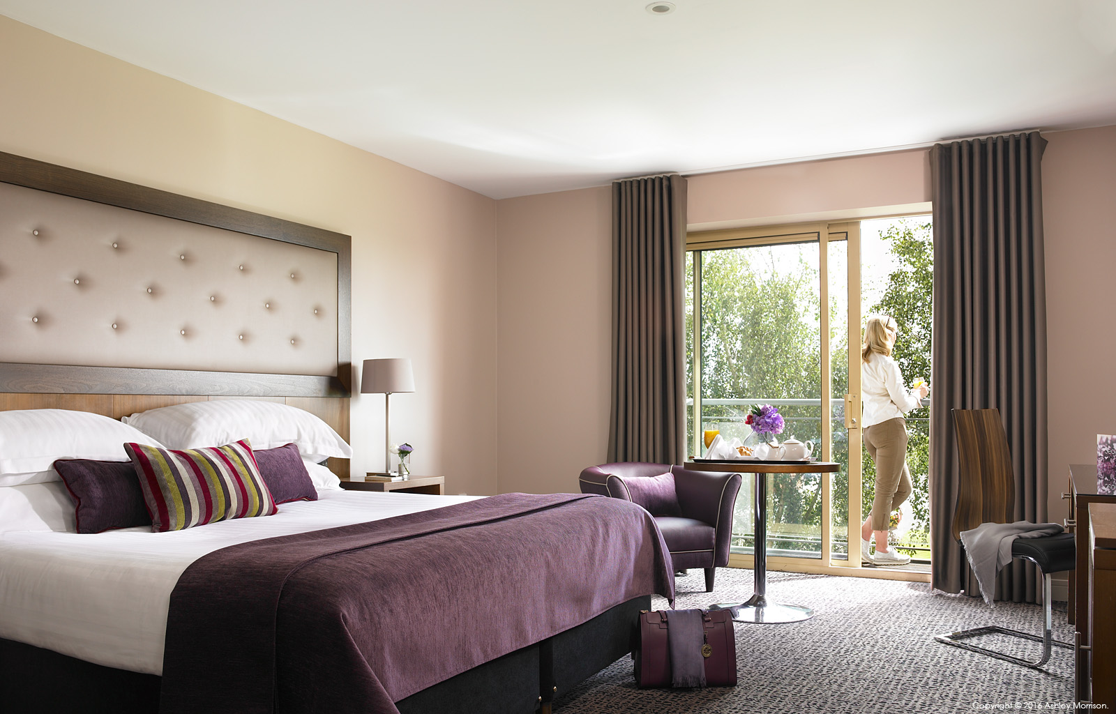 Deluxe bedroom with a balcony at Dunboyne Castle Hotel & Spa in County Meath.
