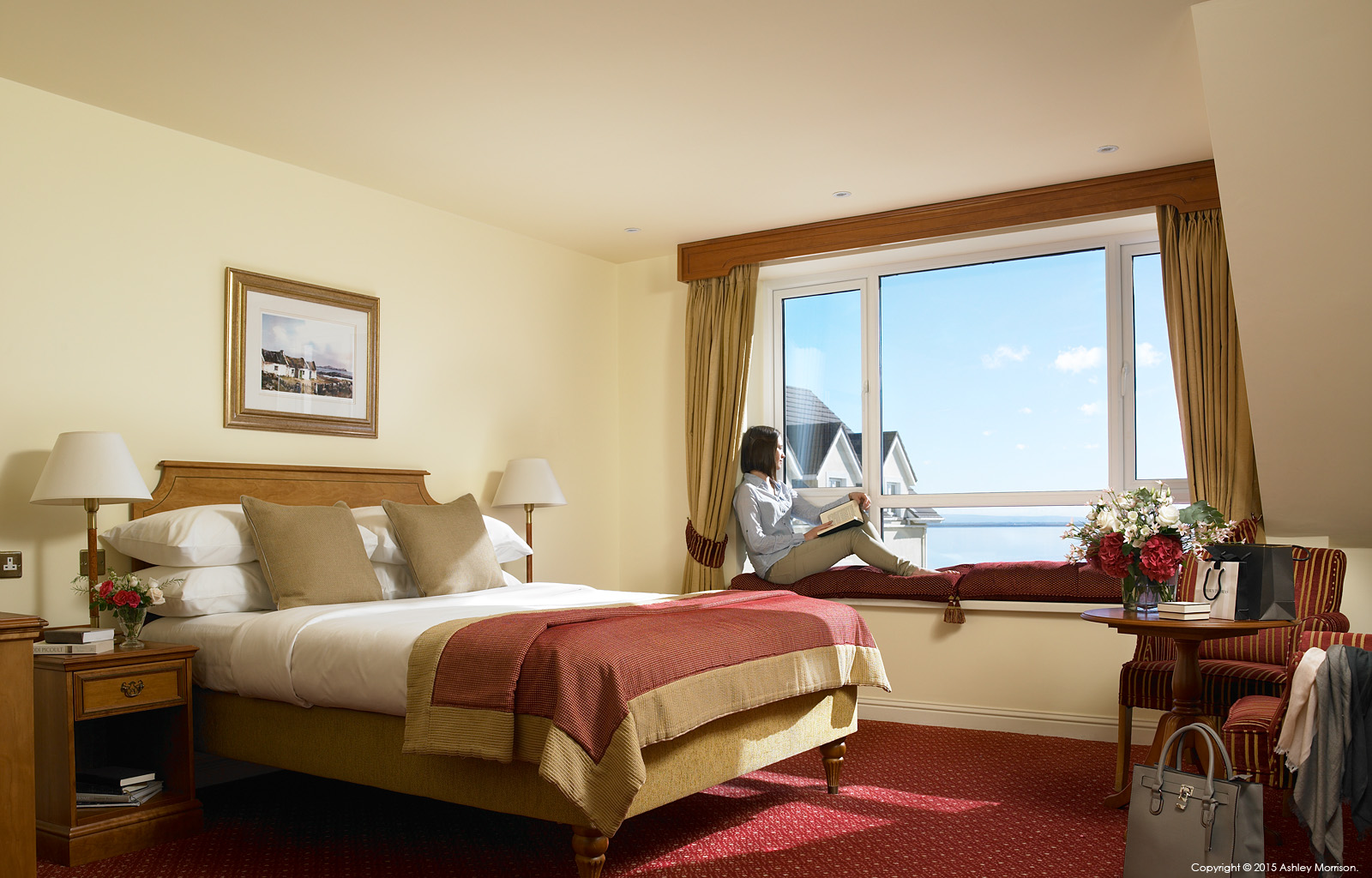 Atlantic View bedroom at the Galway Bay Hotel on the promenade at Salthill.