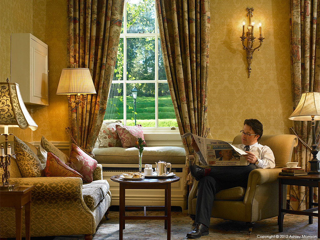 Relaxing in the drawing room at Mount Juliet in County Kilkenny by Ashley Morrison.