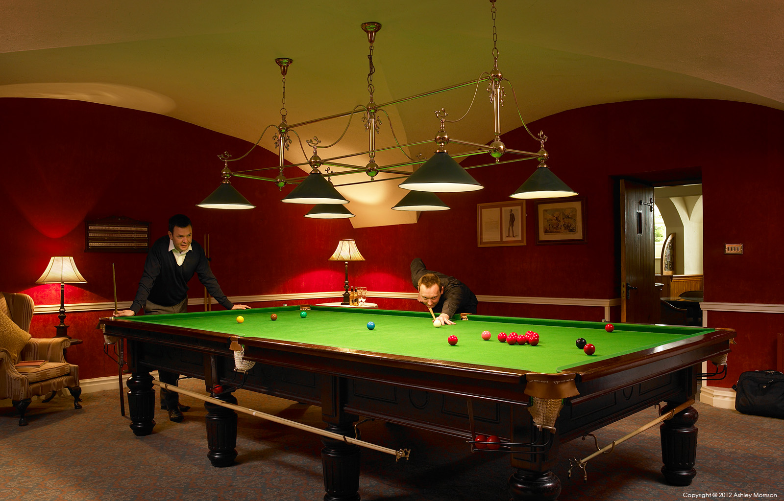 The Billiard Room in the basement of Mount Juliet House at Mount Juliet Country Estate in County Kilkenny by Ashley Morrison.
