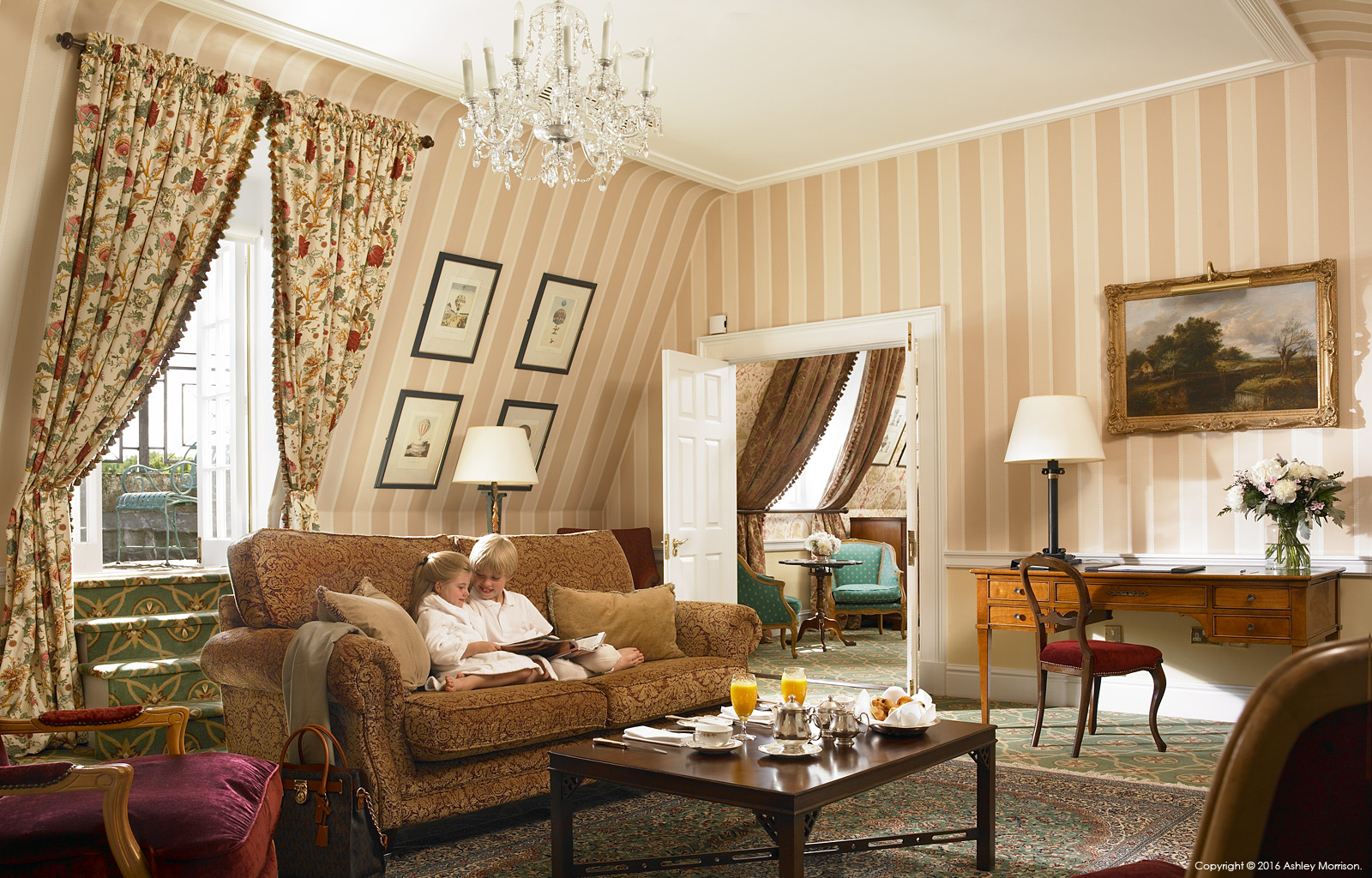 The living room in the Presidential suite at the Kildare Hotel Spa & Golf Club near Straffan in County Kildare.
