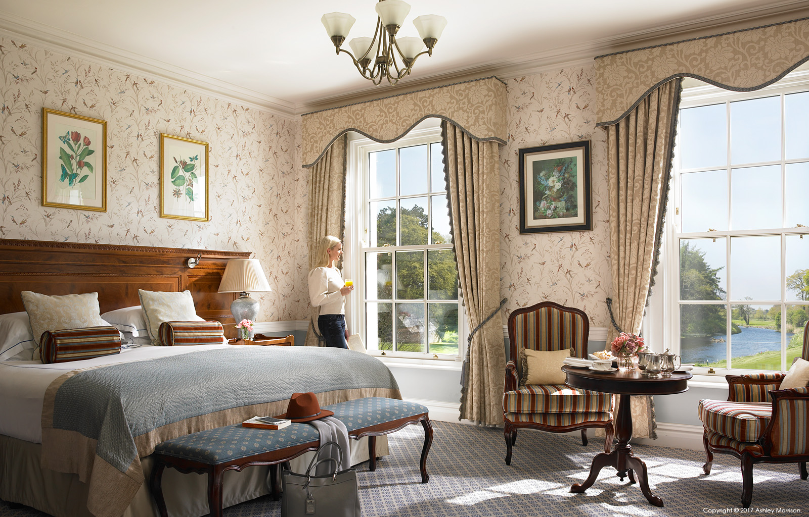 The Liffey Deluxe River View bedroom at the Kildare Hotel Spa & Country Club in County Kildare