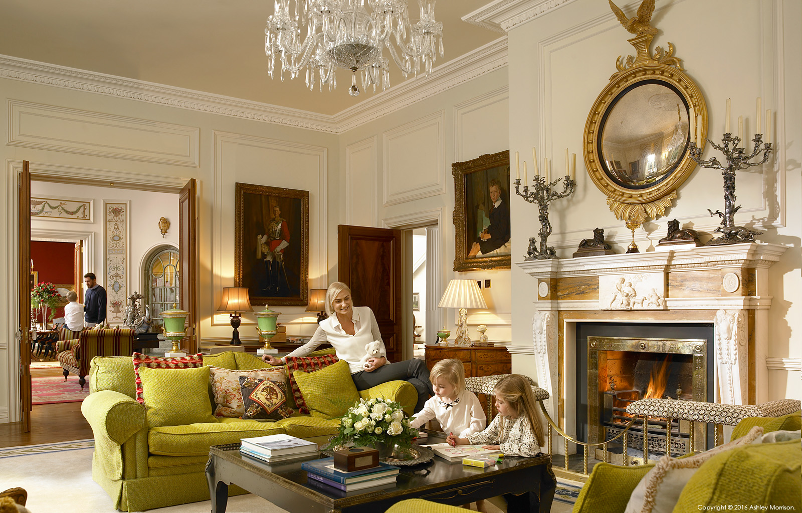 Family in the drawing room in Straffan House at The K Club in County Kildare.