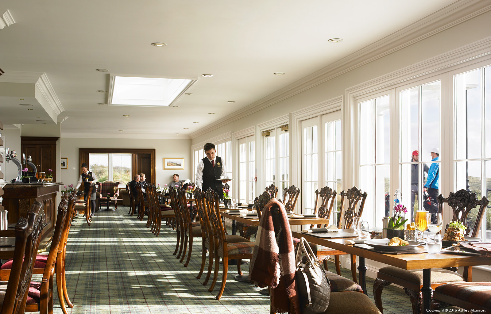The restaurant in the Golf clubhouse at the Trump International Golf Hotel near Aberdeen in Scotland.