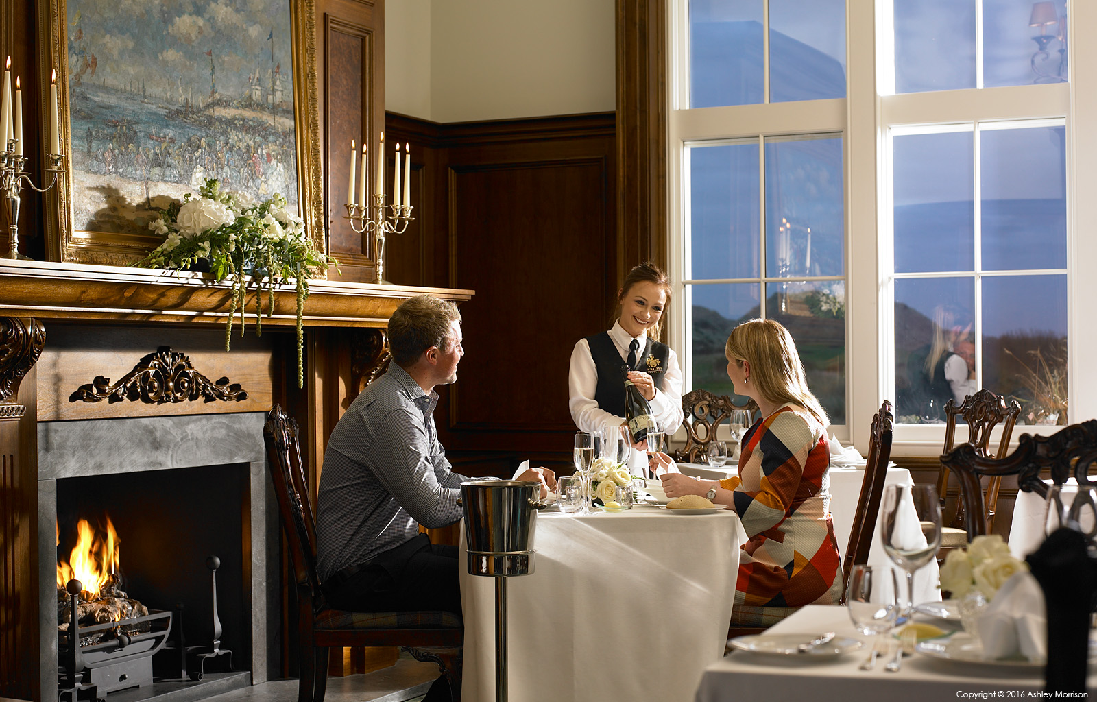 Private dining in the Clubhouse at the Trump International Golf Hotel near Aberdeen in Scotland.
