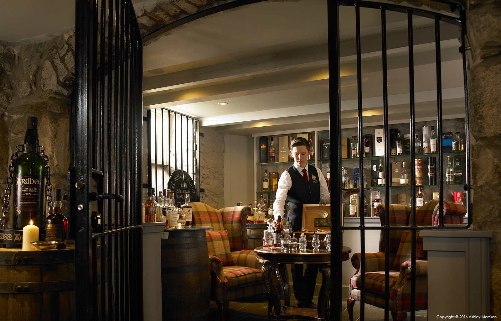 Whisky tastings room in the basement at the Trump International Golf Hotel near Aberdeen in Scotland.