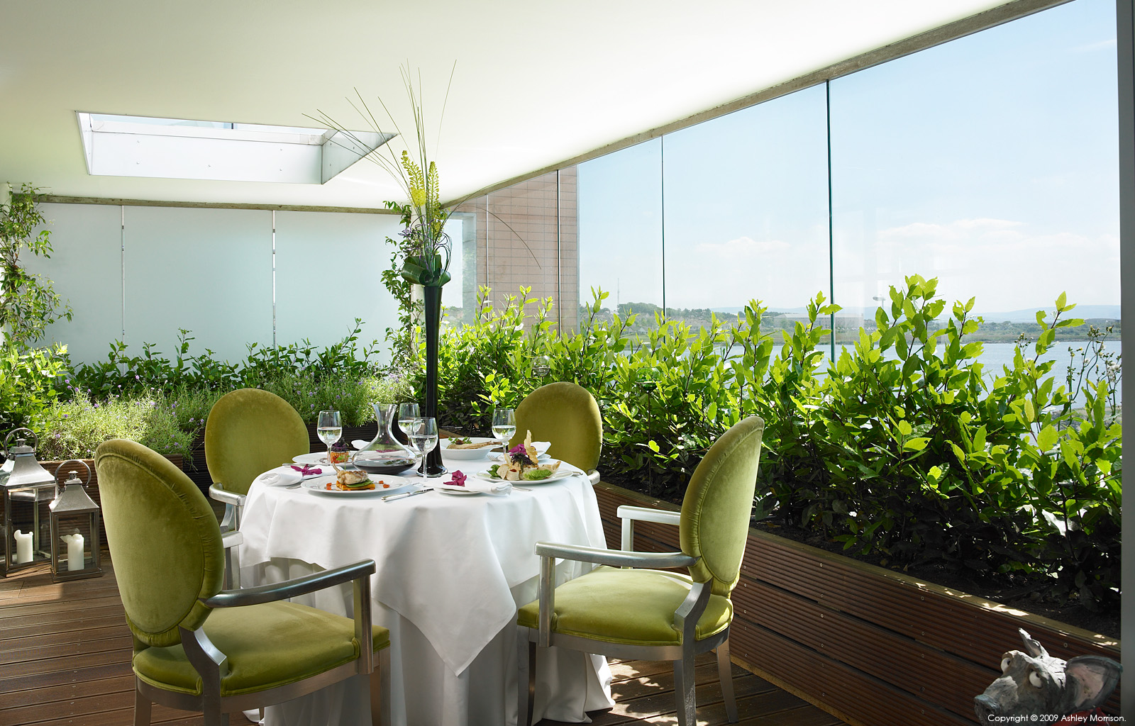 Open air dining area in the Linda Evangelista suite at The g hotel in Galway by Ashley Morrison.