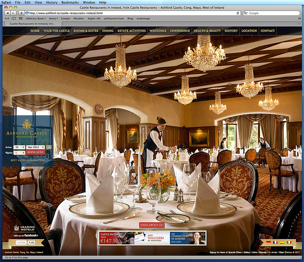 Screen shot of the Restaurants page showing the George V dining room on Ashford Castle's website.