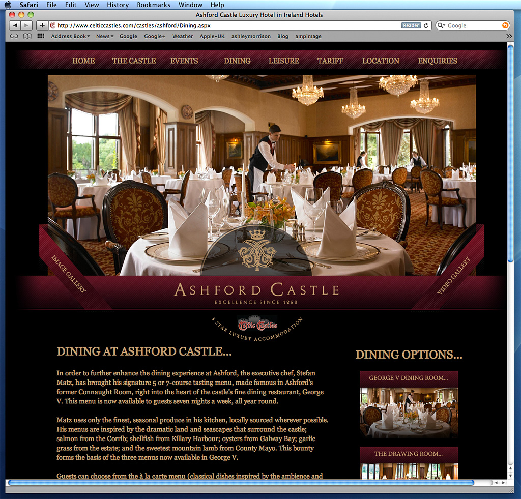 The George V dining room at Ashford Castle in County Mayo as seen on Celtic Castles website.