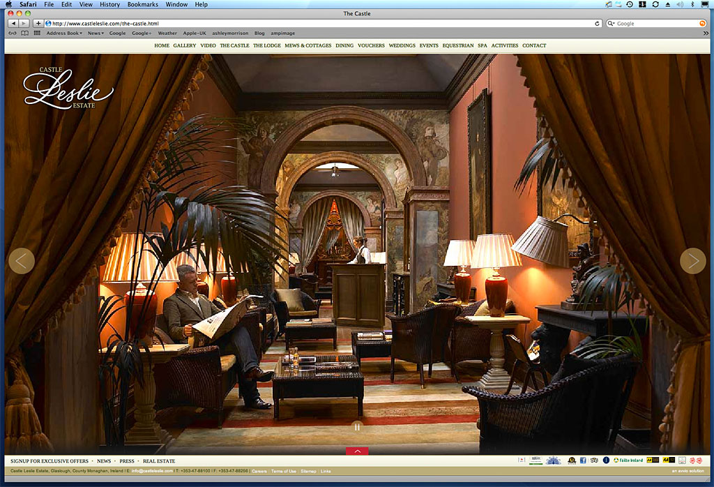 Screen shot showing how our image was used on The Long Gallery in The Castle page on Castle Leslie Estate's website.