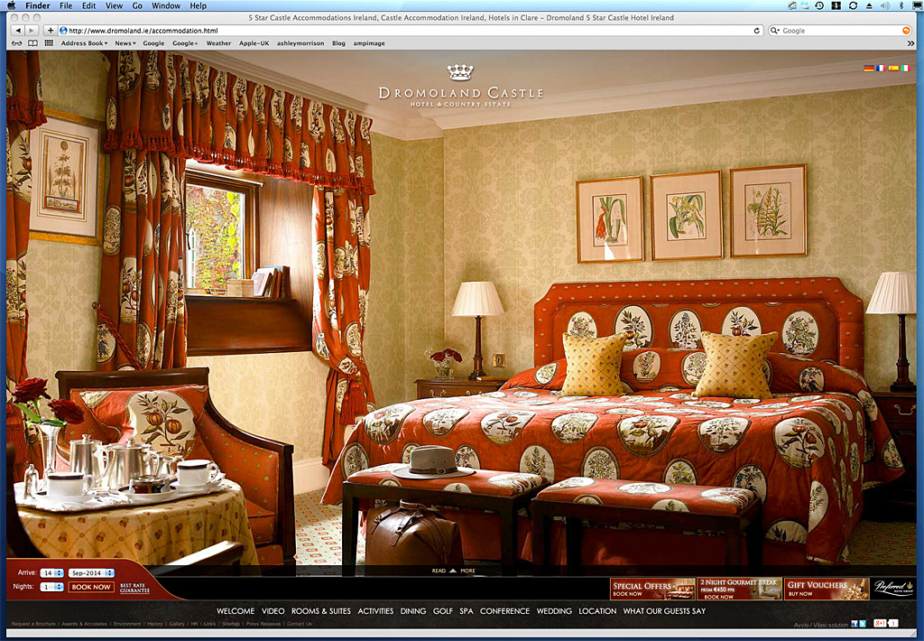 Screen shot of a page on the Dromoland Castle's website showing the image we produced of the Queen Ann bedroom suite.