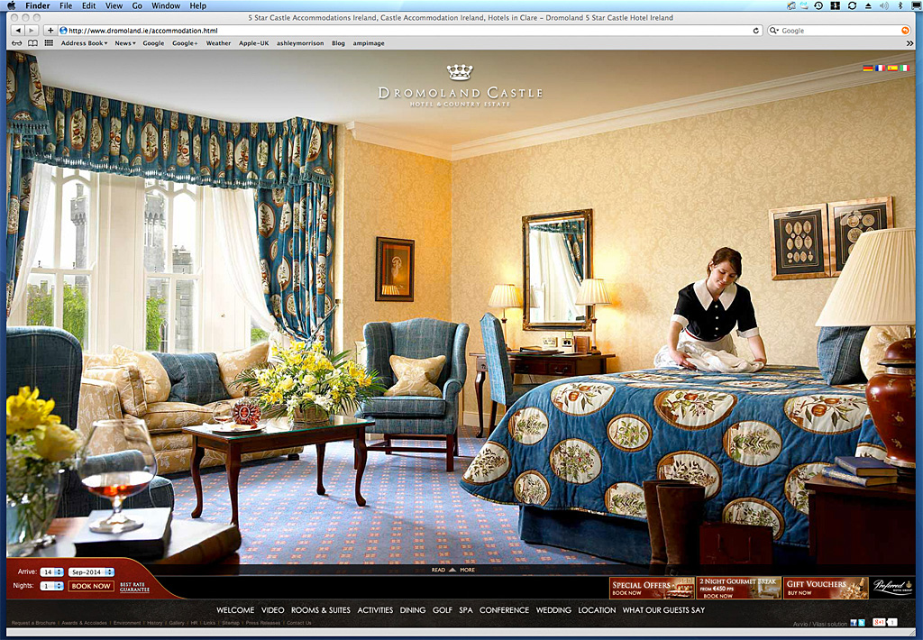 Screen shot showing how our image was used on the accommodation page of Dromoland Castle's website.
