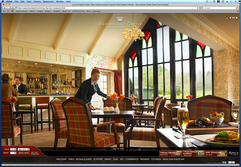 Media use: Worldwide web - The Fig Tree restaurant at Dromoland Castle.