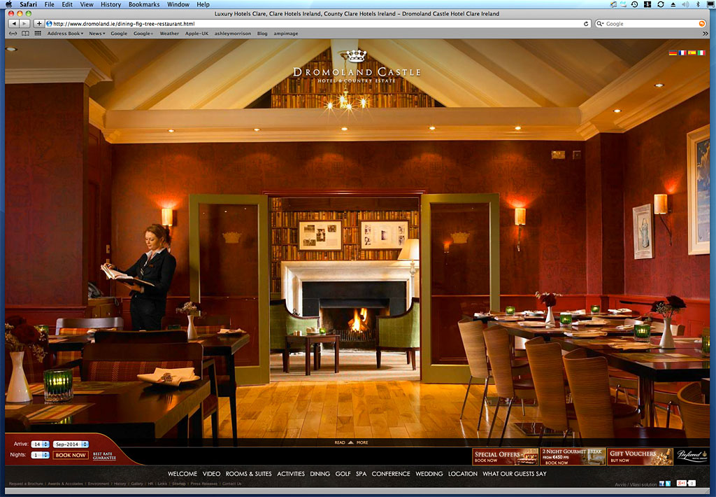 Screen shot of a page on the Dromoland Castle's website showing the image we produced of the Fig Tree restaurant.