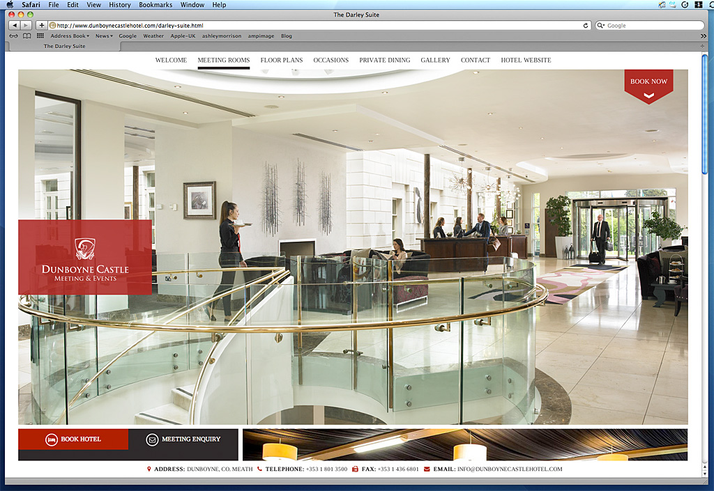 Screen shot of the Darley Suit page on the Dunboyne Castle Hotel's website.