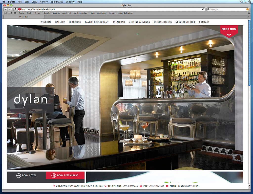 Page on the Dylan Hotel's website about their Cocktail bar in Dublin