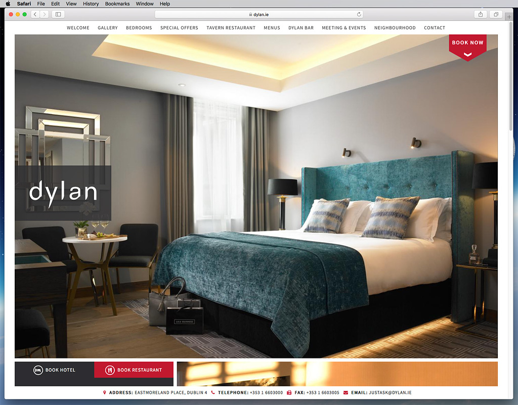 Screen shot of the Luxury Style Room page on the Dylan Hotel's website.