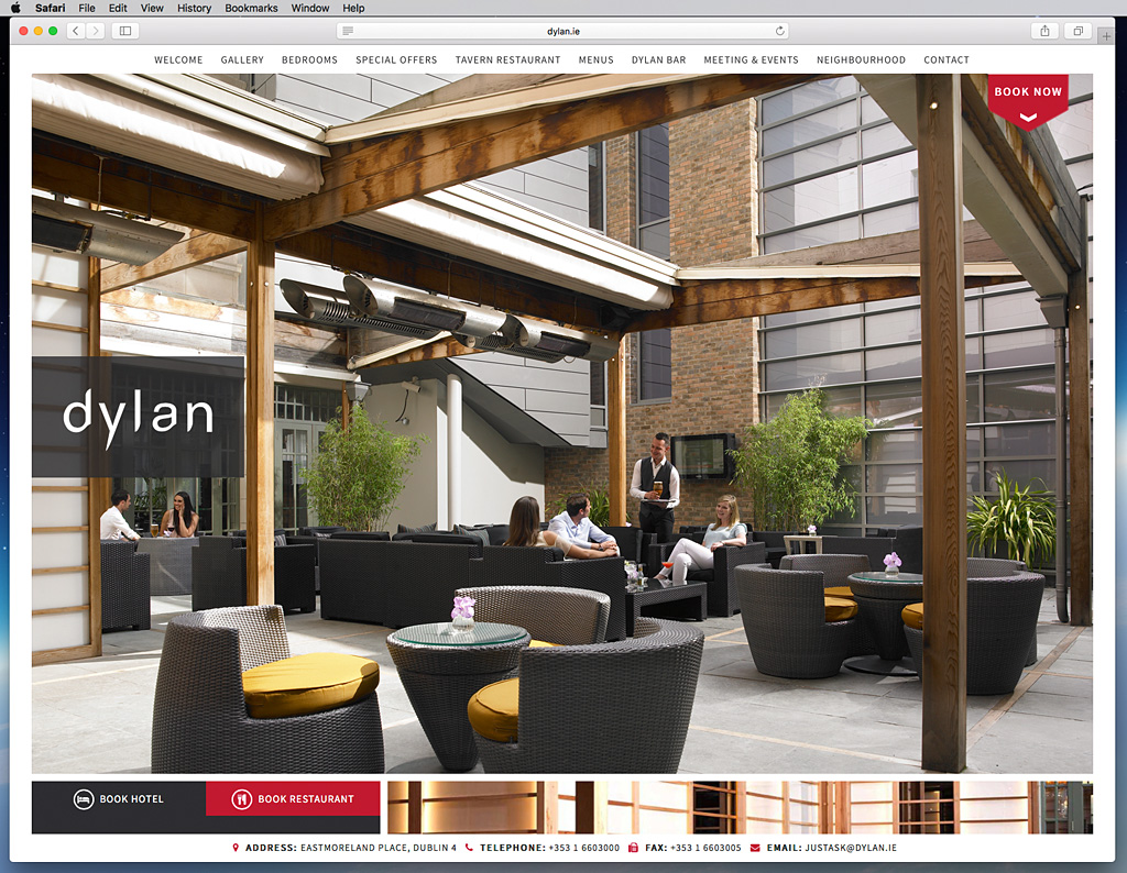 Screen shot of the Experience suite page on the Dylan Hotel's website.