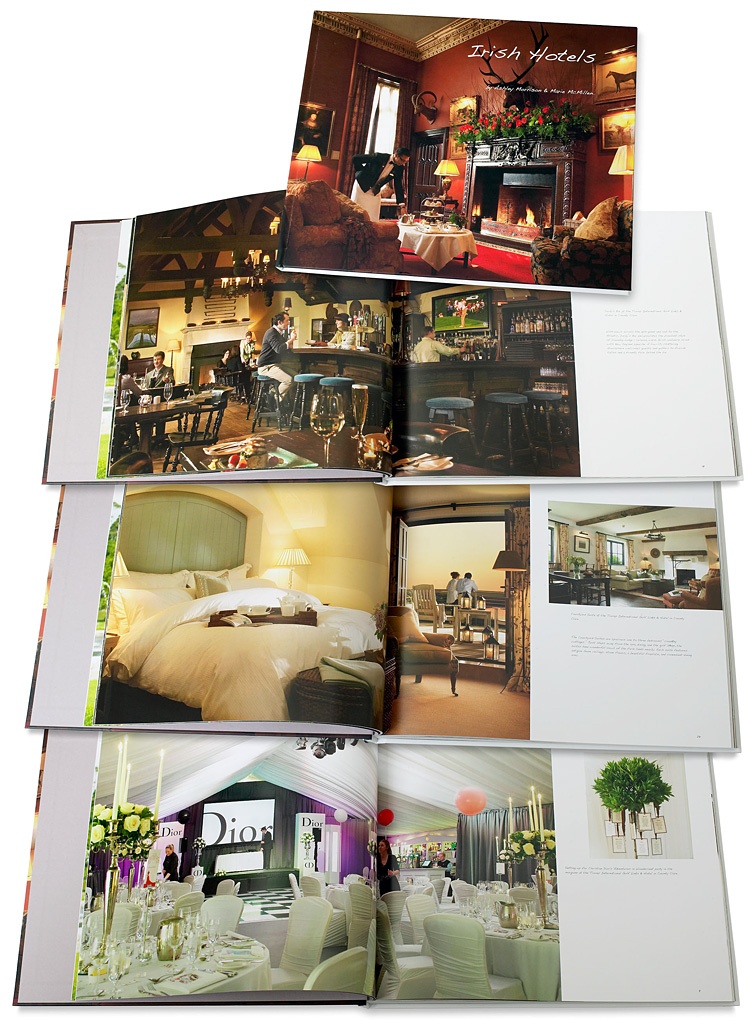 Book called Irish Hotels by Ashley Morrison & Marie McMillen showing some of the pages containing images produced at the Trump International Golf Links & Hotel in County Clare.