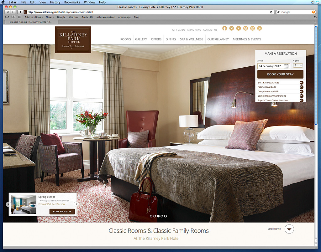 Screen shot of the Classic Rooms & Classic Family Rooms page on the Killarney Park Hotel's website.