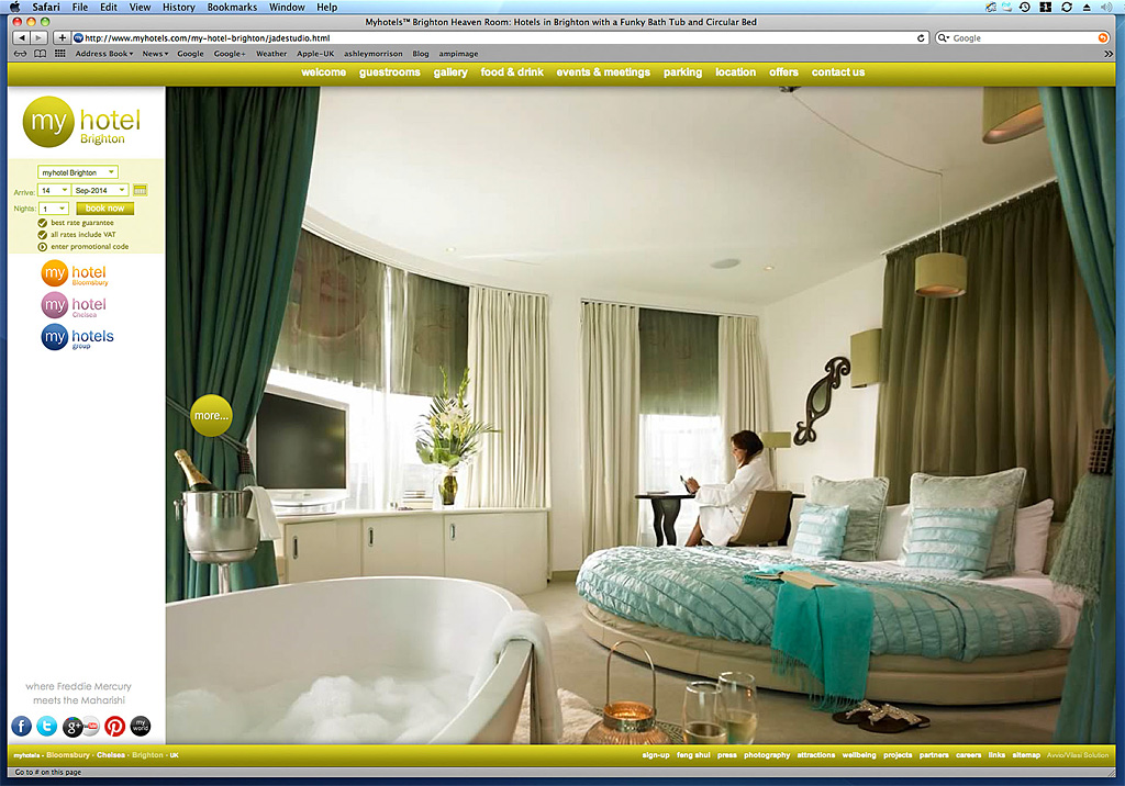 Screen shot showing our image was used on the Jade studio  page on the website of My Hotels Brighton.