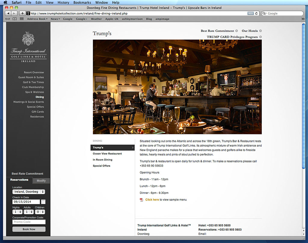Screen shot showing how our image was used on the Fine Dining page at Doonbeg on Trump International's website.