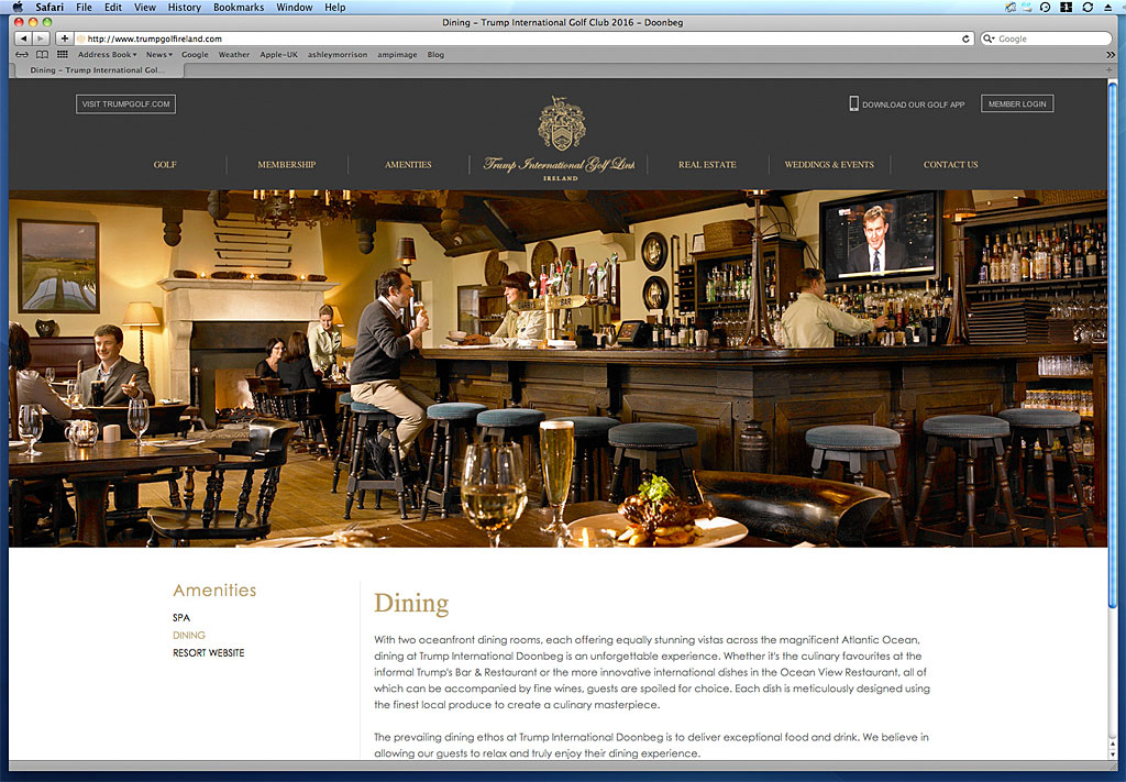 The Dining page showing the Trump's Bar & Restaurant on the website of Trump International Golf Link Hotel in Ireland.