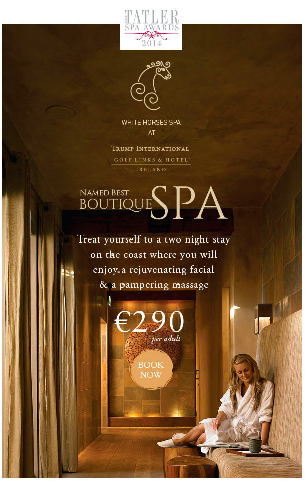 Media use: Worldwide web & promotional emails - advertising their achievement and promoting their award winning Spa.