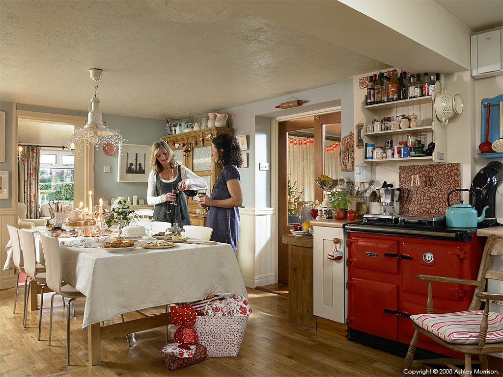 Libby Johnston & her friend Vanessa Arran in the kitchen of her farmhouse which overlooks Belfast in County Down by Ashley Morrison.
